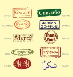 Thank you stamps in various language vector