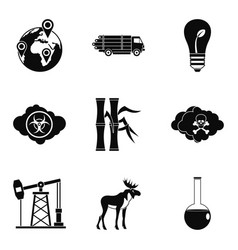 Threat of nature icons set simple style vector