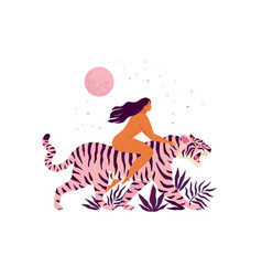 tiger and a women inspirational poster love vector image