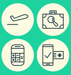 Traveling icons set collection of phone vector