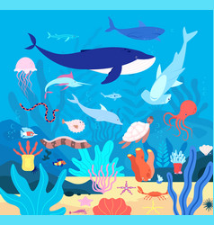 Underwater cute undersea animals cartoon sea vector