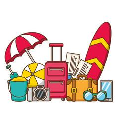 Vacations suitcases ball bucket surfboard camera vector