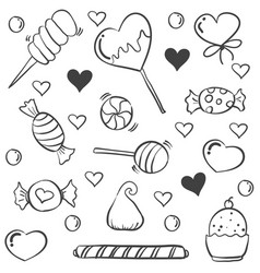 Various candy sketch doodle style vector