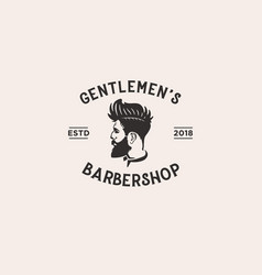 vintage barber shop logo design template vector image