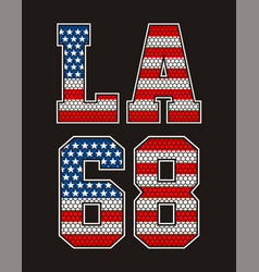 Vintage retro la number 68 american flag vector
