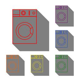 washing machine sign set of red orange yellow vector image