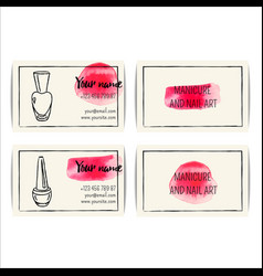 Watercolor nail art buisness cards templates set vector