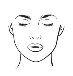 Woman portrait face chart makeup template vector