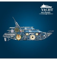 Yacht mechanics icon of motor boat from parts vector