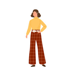 young woman wearing hippie clothes in 70s decade vector image
