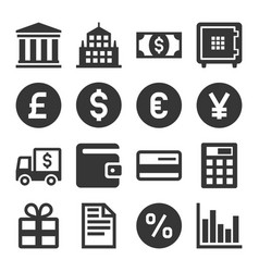 banking and finance icons set vector image vector image