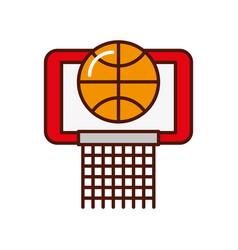Brightly basket ball in the hoop cartoon vector