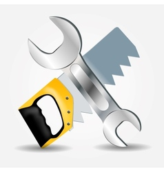 Saw and Wrench icon vector image