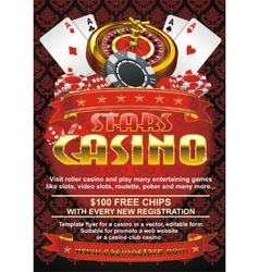Template flyer for a casino in vector image