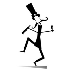 dancing long mustache man with bottle of wine vector image