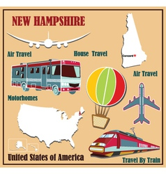 Flat map of New Hampshire vector image