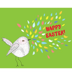 Happy easter card with bird vector image