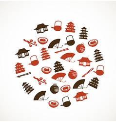 Japanese icons vector image