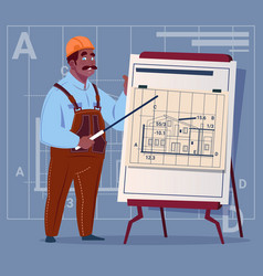 cartoon african american builder explain plan of vector image vector image