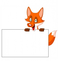 fox with sign vector image