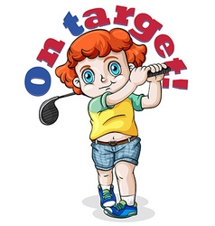 Kid swing a golf club vector image