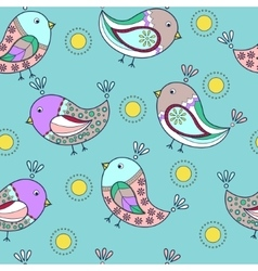 Seamless pattern with painted birds vector image vector image