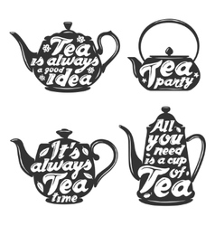 Set of tea pot silhouettes with quotes vector image