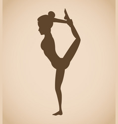 silhouette woman pose yoga vector image