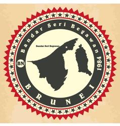 Vintage label-sticker cards of Brunei vector image vector image