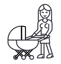 woman with baby stroller line icon sign vector image