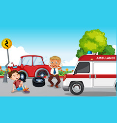 Accident scene with injured boy and ambulance vector