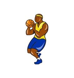 African-American Basketball Player Shoot Ball vector image
