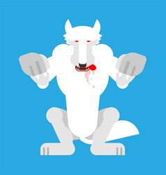 Angry white wolf attack isolated snow werewolf vector