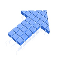 Arrow icon made of blue cubes vector