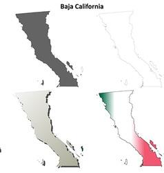 Baja California blank outline map set vector