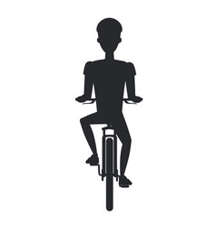 bicyclist on bicycle black silhouette isolated vector image