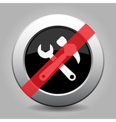 Black metallic ban button - claw hammer spanner vector