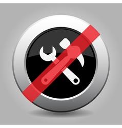 Black metallic ban button - claw hammer spanner vector