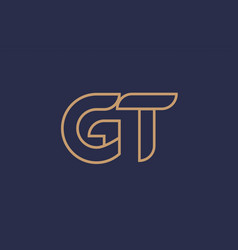 Brown blue line alphabet letter gt g t logo vector