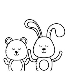 bunny and teddy in black and white vector image