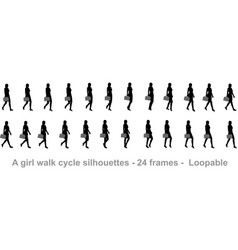 business girl walk cycle animation sprite sheet vector image