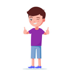 cartoon boy showing thumbs up vector image