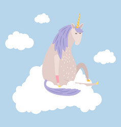 cartoon dreaming unicorn flies on cloud vector image