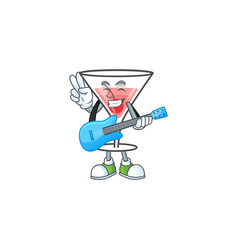 Cartoon fresh cocktail with with guitar vector