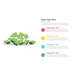 cash money paper infographics template with 4 vector image