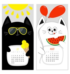 Cat calendar 2017 cute funny cartoon white black vector