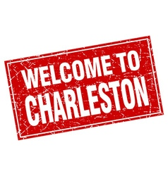 Charleston red square grunge welcome to stamp vector