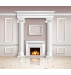 Classic Interior With Fireplace Design vector
