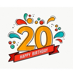 Colorful happy birthday number 20 flat line design vector