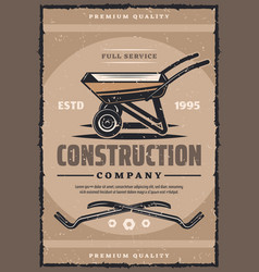 Construction company vintage banner with work tool vector